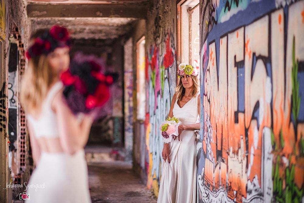 Alice Marty Fleuriste mariage Albi Toulouse Bouquet mariée couronne mariée fleurs tissu
