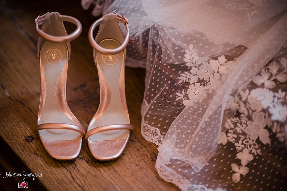 Alice Marty Fleuriste mariage Albi Toulouse Collection peach and mint Chaussures mariée rose gold