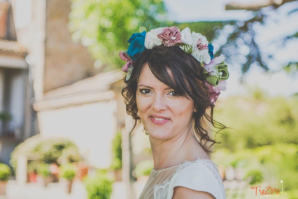 Couronne de mariée Alice Marty Fleuriste mariage Bouquet tissu Albi Toulouse