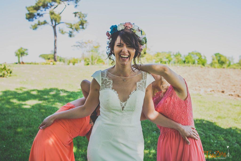 Mariage Albi Toulouse Alice Marty Fleuriste Couronne de fleurs rose vert bleu ivoire Romantique