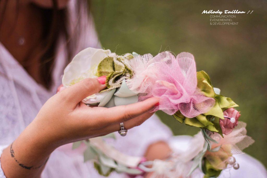 Mariage Albi Alice Marty Couronne fleurs en tissu Mariage champêtre vert anis rose ivoire