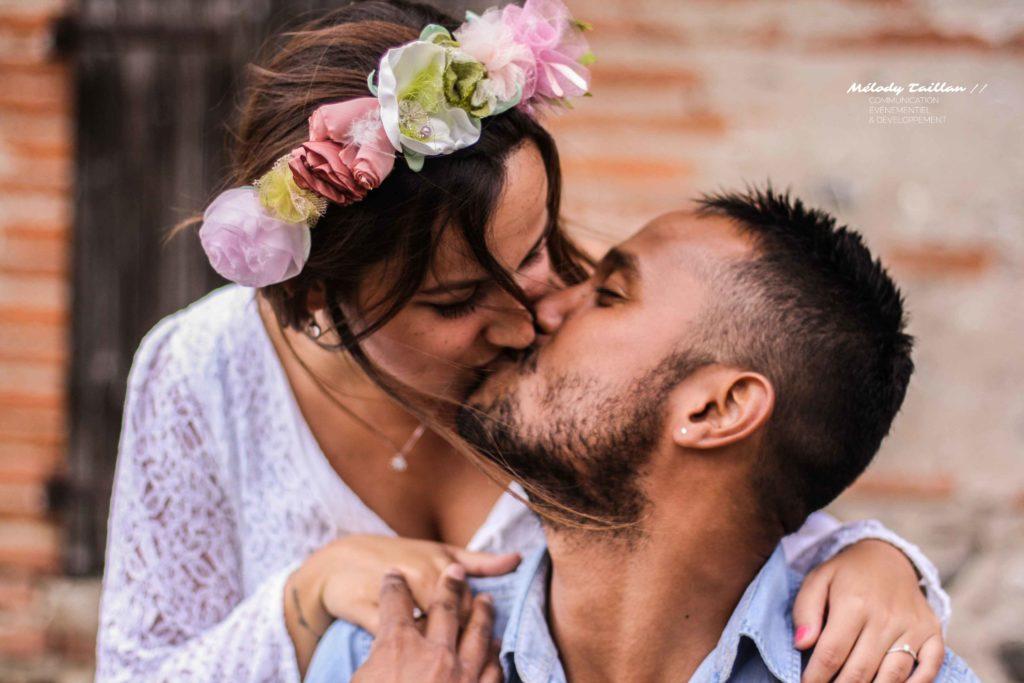 MAriage Albi Alice Marty Accessoires mariée Fleurs en tissu rose vert anis ivoire