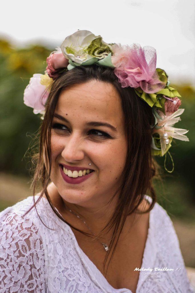 Mariage Toulouse Alice Marty Couronne mariée Accessoires mariage Fleurs en tissu