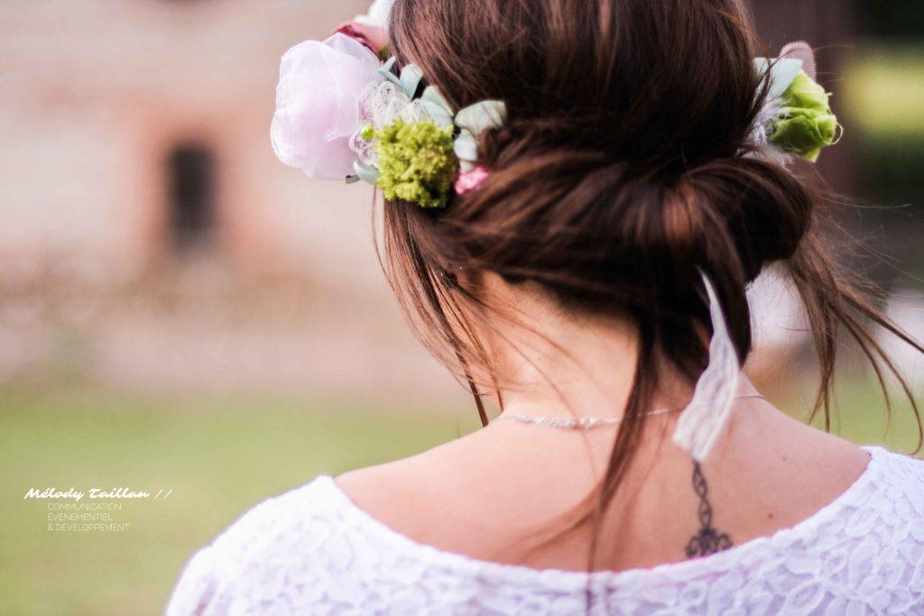 Mariage Toulouse Alice Marty Couronne champêtre Fleurs en tissu