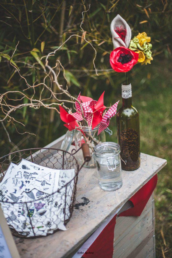 Mariage Albi Toulouse Alice Marty déco fleurs en tissu