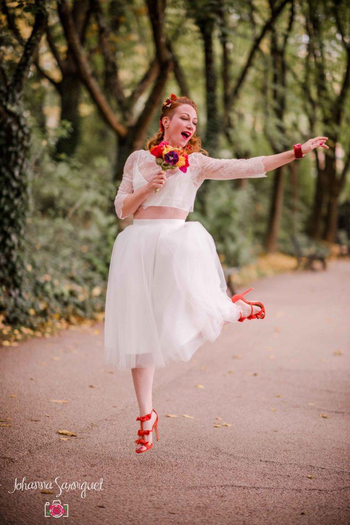 Mariée rock et funky Bouquet et accessoires fleuris en tissu Alice Marty Albi Toulouse