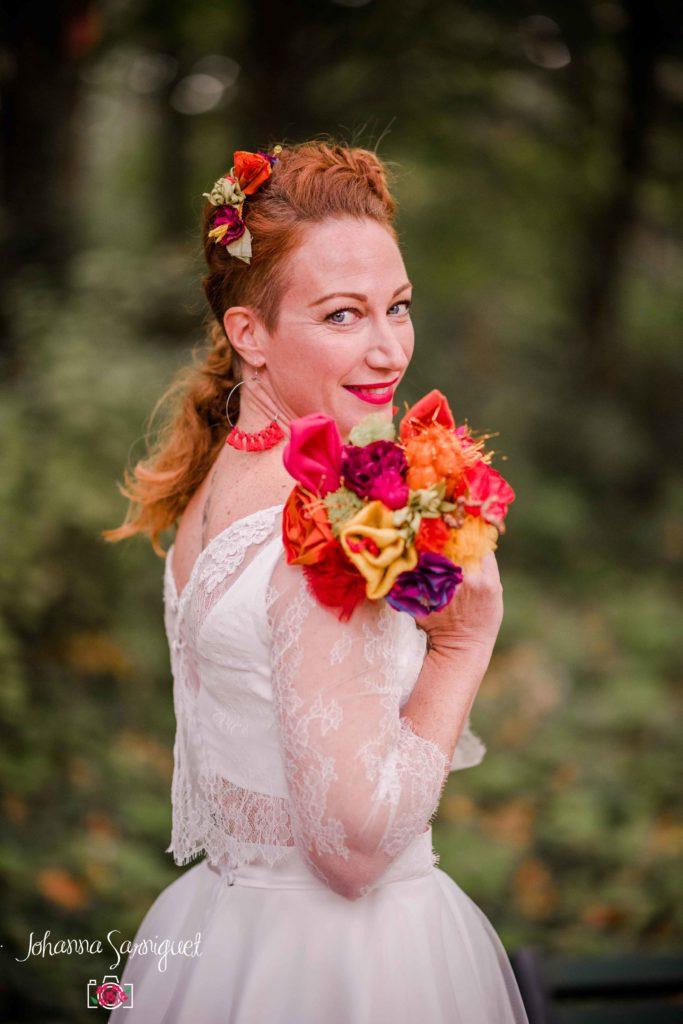 Bouquet de mariée Albi funky rock Couleurs pop Fleur en tissu Alice Marty
