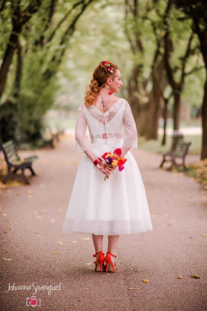 Bouquet de mariée original couleurs pop Alice Marty Fleuriste textile Toulouse Albi