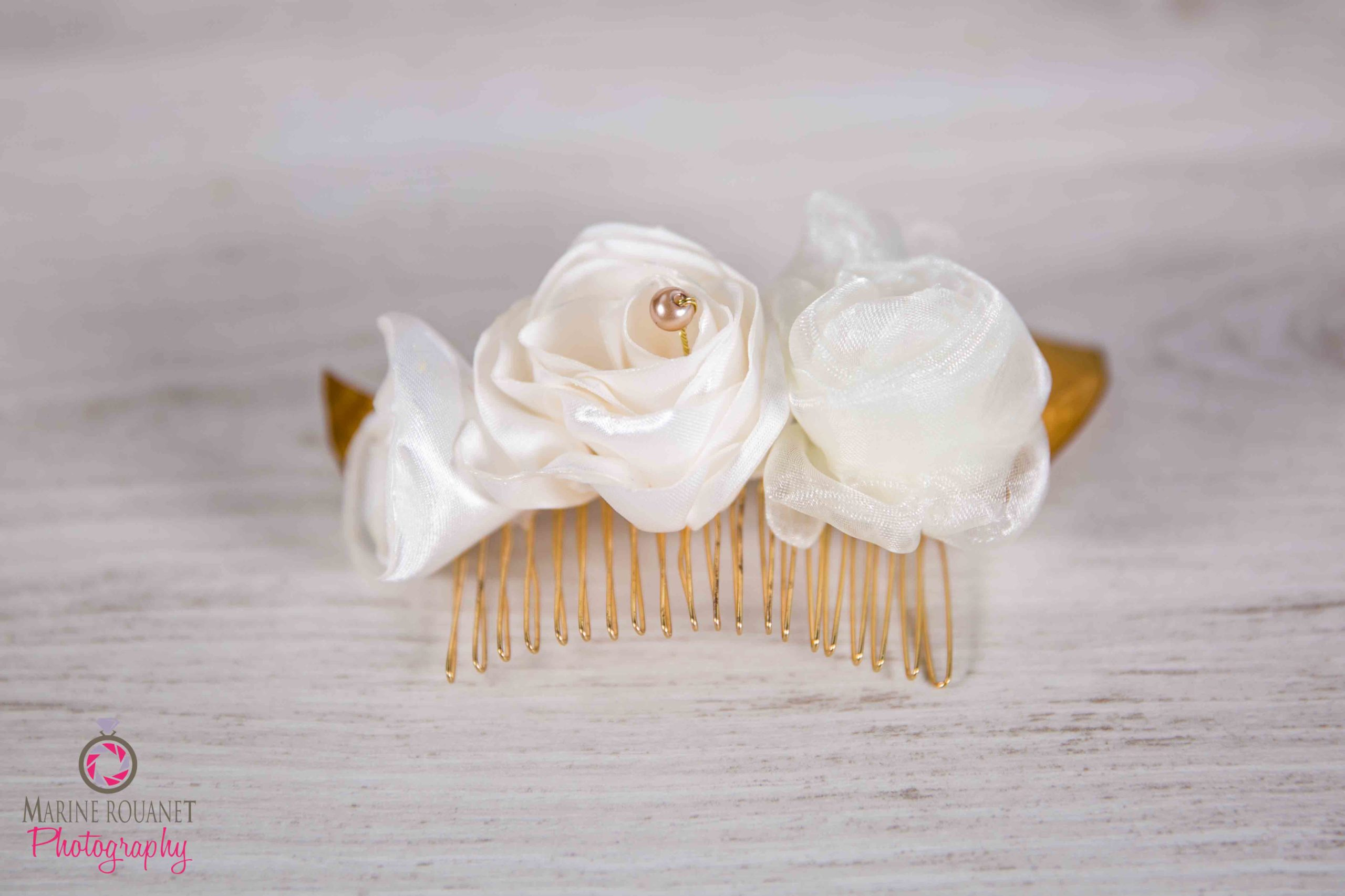 Arty Malice Fleuriste mariage Albi Toulouse Peigne mariée Collection Ivoire Or