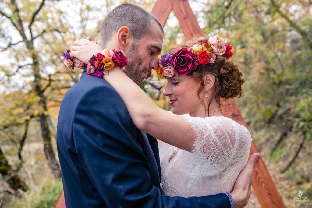 Mariage Albi Couronne de fleurs et accessoires en tissu Alice Marty Fleuriste textile