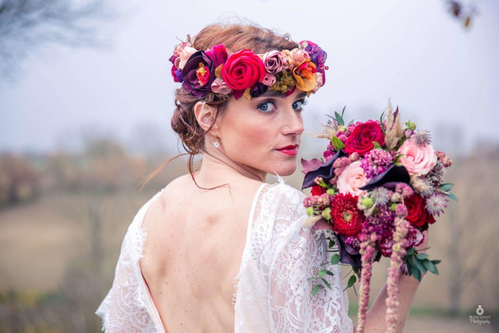Couronne mariée Alice Marty Fleuriste textile Albi Toulouse Rouge Prune Or Nude Rose