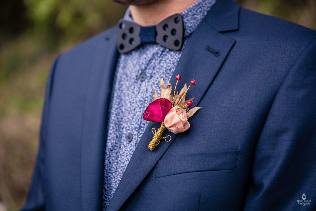 Boutonnière marié fleurs en tissu Boutonnière automne Alice Marty Fleuriste textile Toulouse Albi