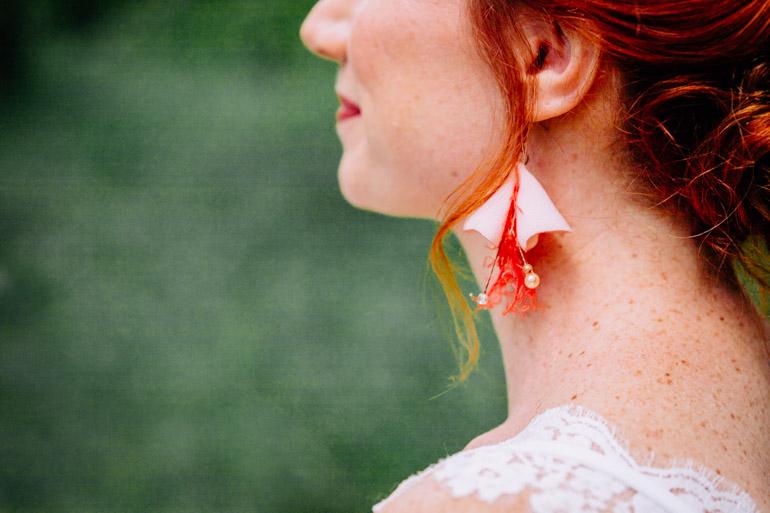 Boucles d'oreilles rose pâle corail perles Alice Marty Accessoires mariage Toulouse Albi Bordeaux