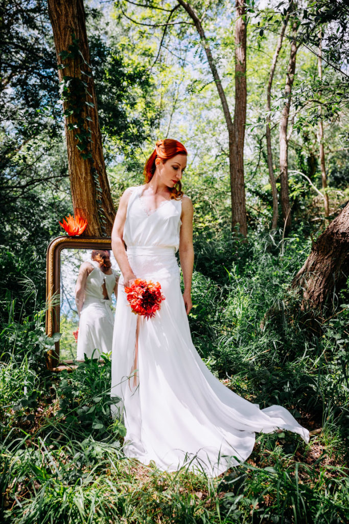 Mariée sauvage forêt bouquet tissu Alice Marty Accessoires mariage Toulouse Albi Bordeaux