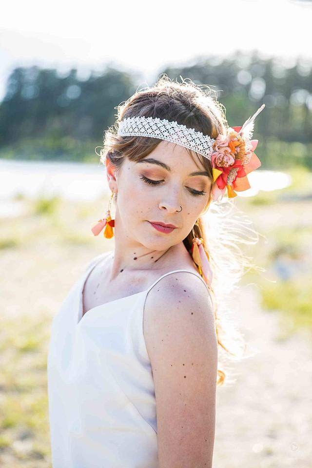 Headband fleurs mariée boho Alice Marty Accessoires mariage Toulouse Albi Bordeaux