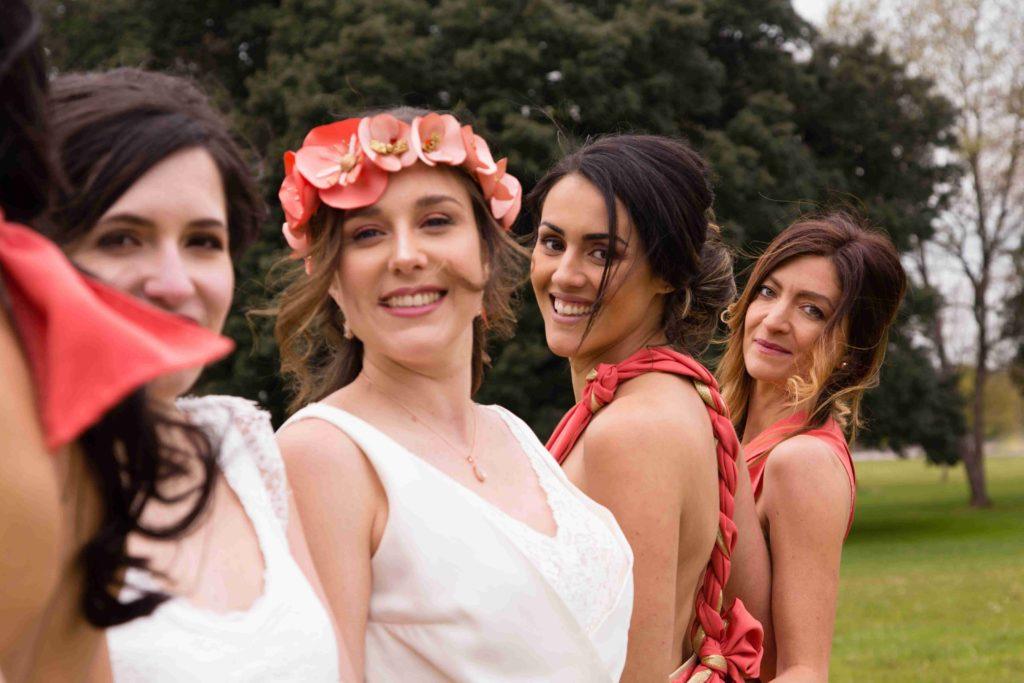 Couronne de fleurs corail Alice Marty Accessoires mariage Albi Toulouse Bordeaux