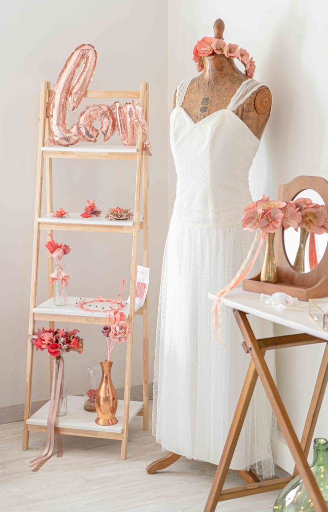 Collection corail Showroom Alice Marty Créatrice d'accessoires mariage Toulouse Albi