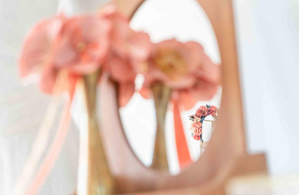 Couronne de fleurs textiles Showroom Alice Marty Créatrice d'accessoires mariage Toulouse Albi