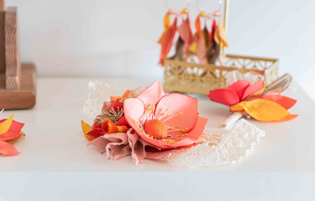 Headband corail mariage boho Showroom Alice Marty Créatrice d'accessoires mariage Toulouse Albi