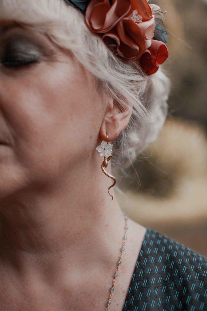 Elopement rock Couronne fleuri Alice Marty créatrice d'accessoires mariage Toulouse Albi