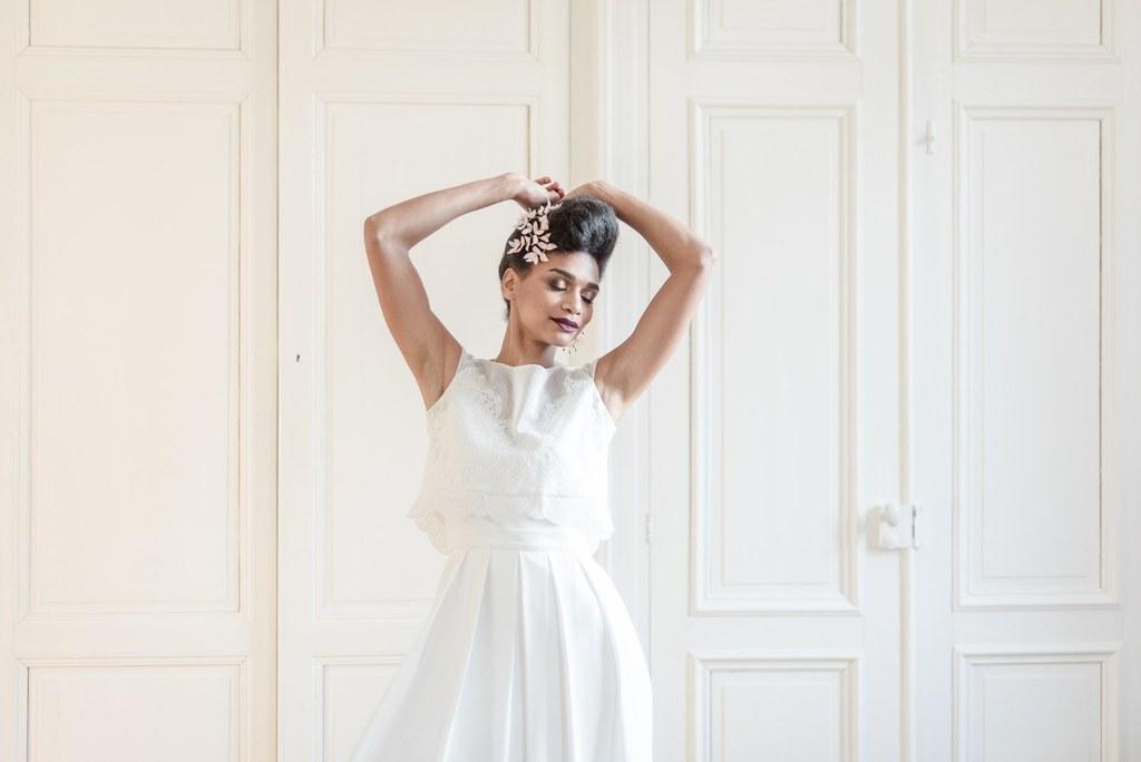 Alice Marty Créatrice d'accessoires mariage Ornement de coiffure Gisèle petites feuilles