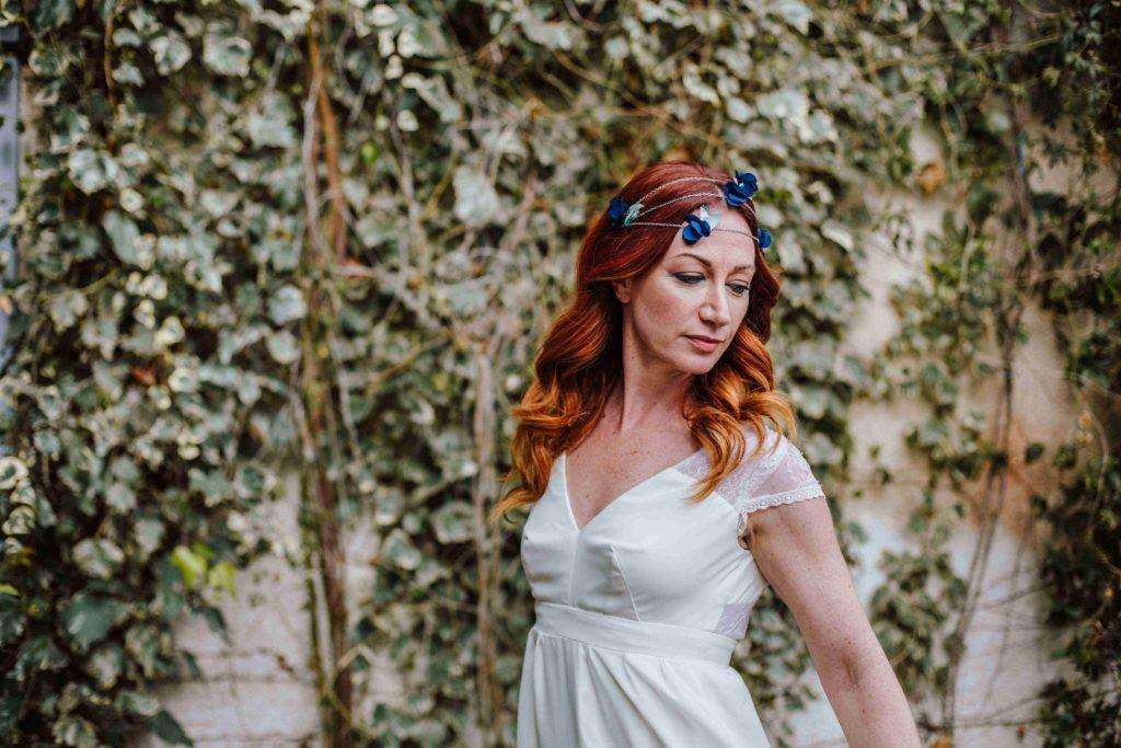 Alice Marty Couture florale Bijoux de tête mariée Bijou tissu fleuri