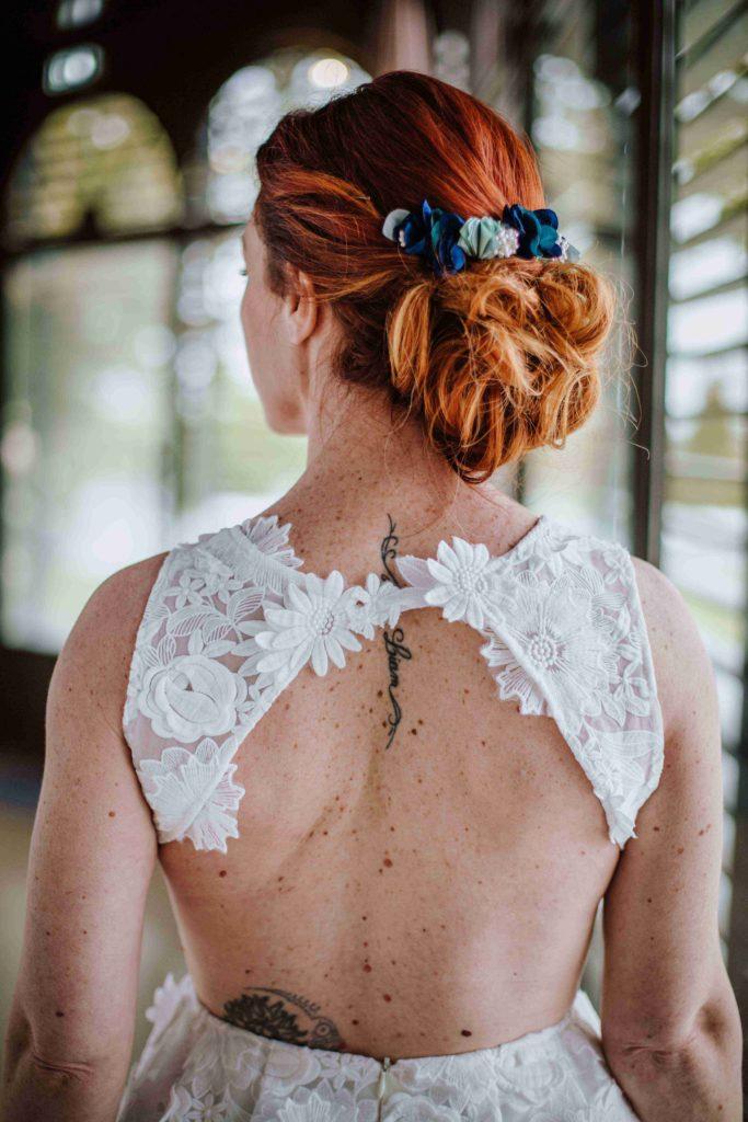 Alice Marty Couture florale Double peigne Suzanne Accessoire mariée bleu vert