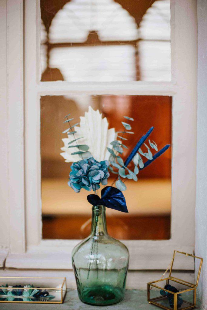 Alice Marty Couture florale bouquet tissu mariée bleu vert