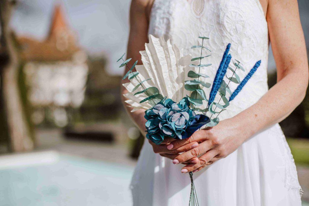 Alice Marty Couture florale mariage bouquet sauvage palme hortensia arum fleurs tissu
