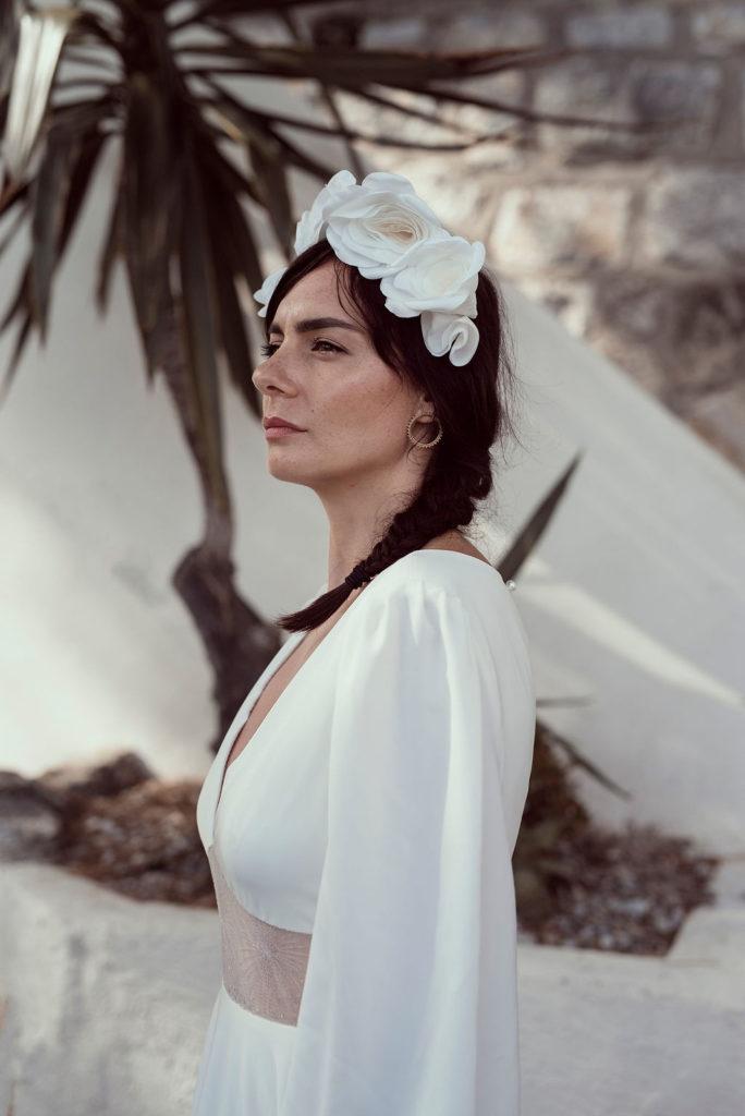 Couronne Frida Satin ivoire roses textiles Alice MARTY Couture Florale Accessoires mariage et jolis jours