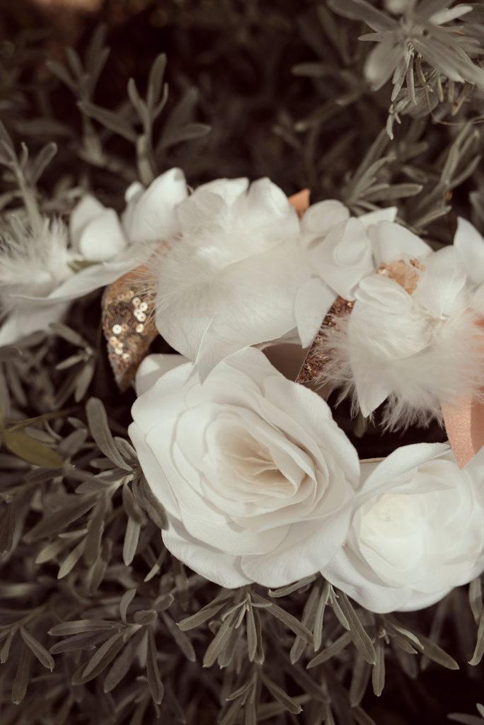 Boucles d'oreilles roses en tissu Satin ivoire Alice MARTY Couture Florale Accessoires mariage et jolis jours