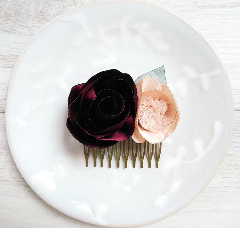 Mini peigne Violette Fleurs textiles Alice MARTY Couture florale Artisan d'art Albi Toulouse Mariage