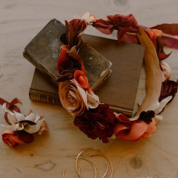 Couronne de fleurs textiles mariée Alice MARTY Couture florale Artisan d'art Albi Toulouse Mariage