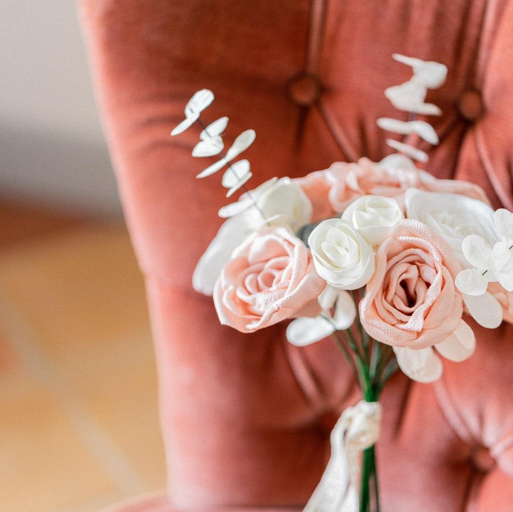 Bouquet de mariée Roses Renoncules Eucalyptus Succulentes Collection Glitter Alice Marty- Couture florale Accessoires mariage Albi Toulouse