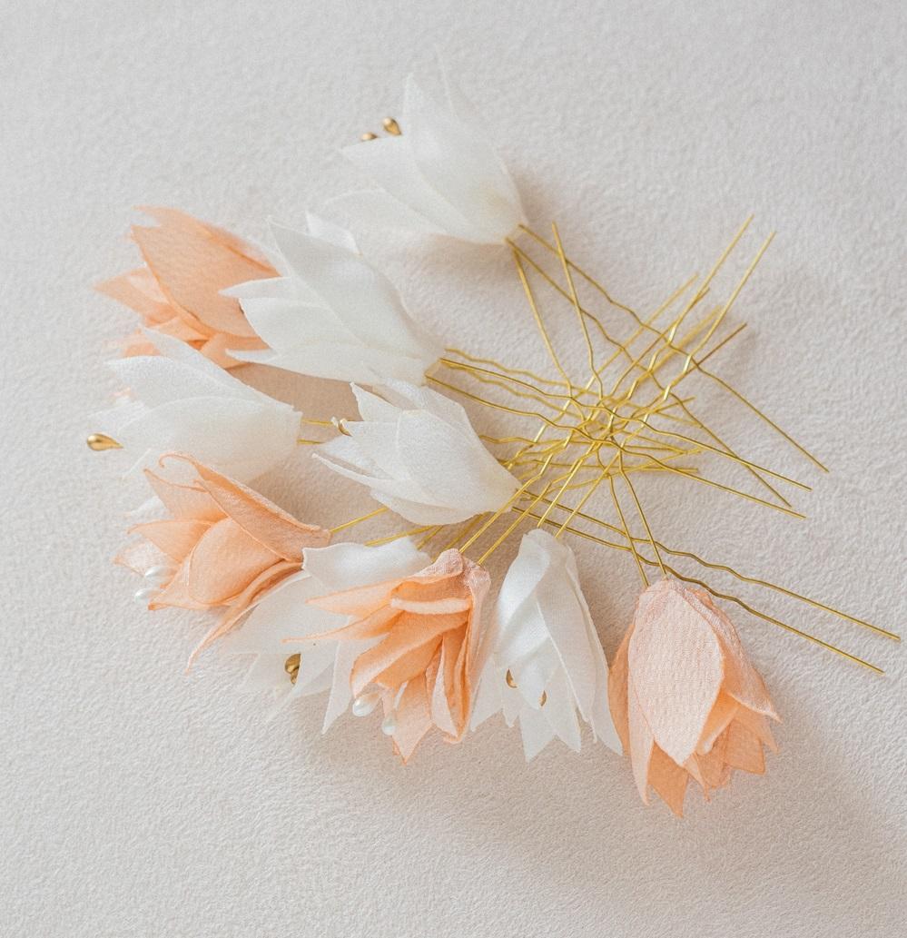 Epingles à chignon mariée petites fleurs Alice Marty - Couture florale Accessoires mariage Albi Toulouse