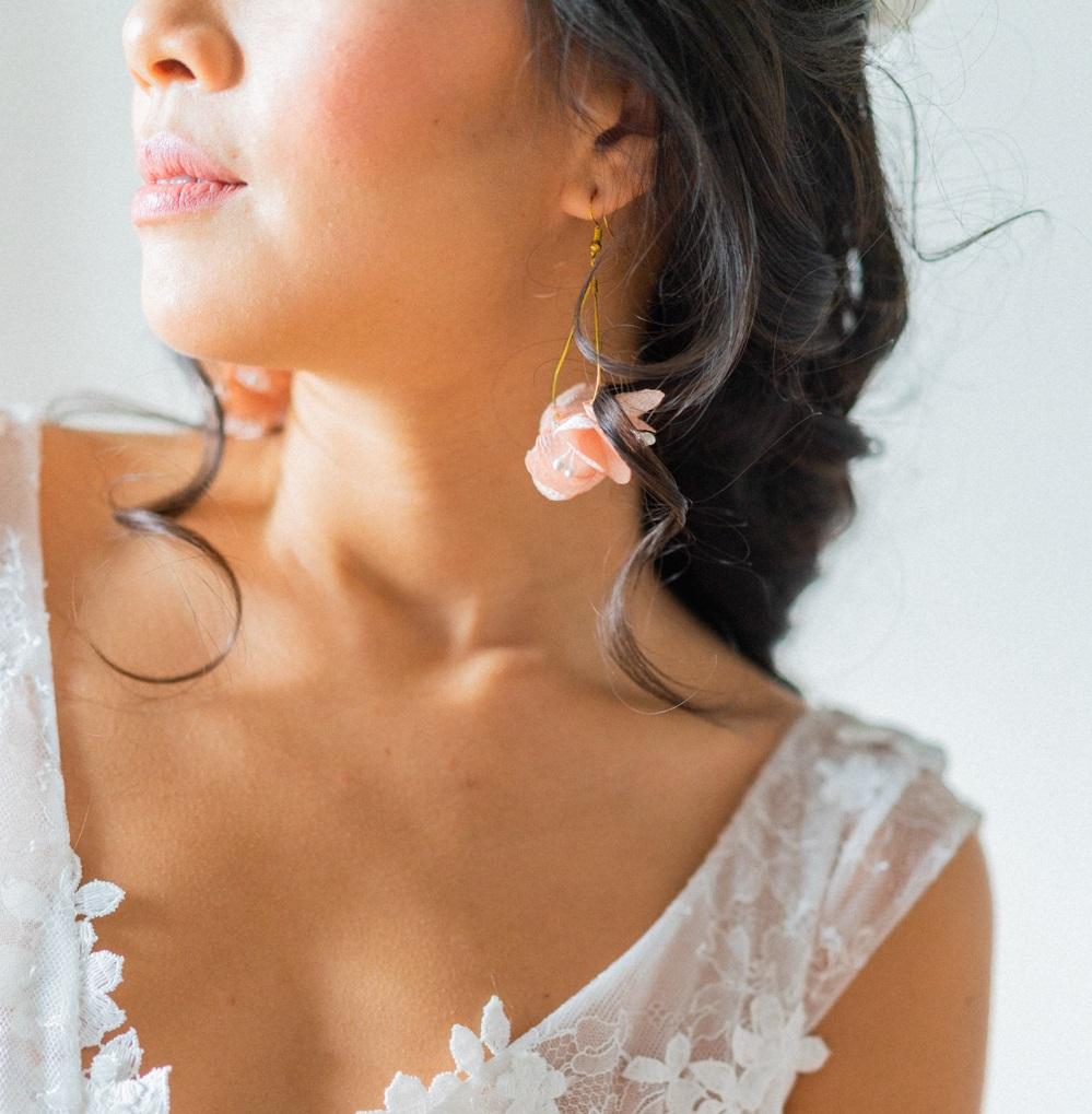 Boucles d'oreilles créoles gouttes fleuries Collection Glitter Alice Marty- Couture florale Accessoires mariage Albi Toulouse