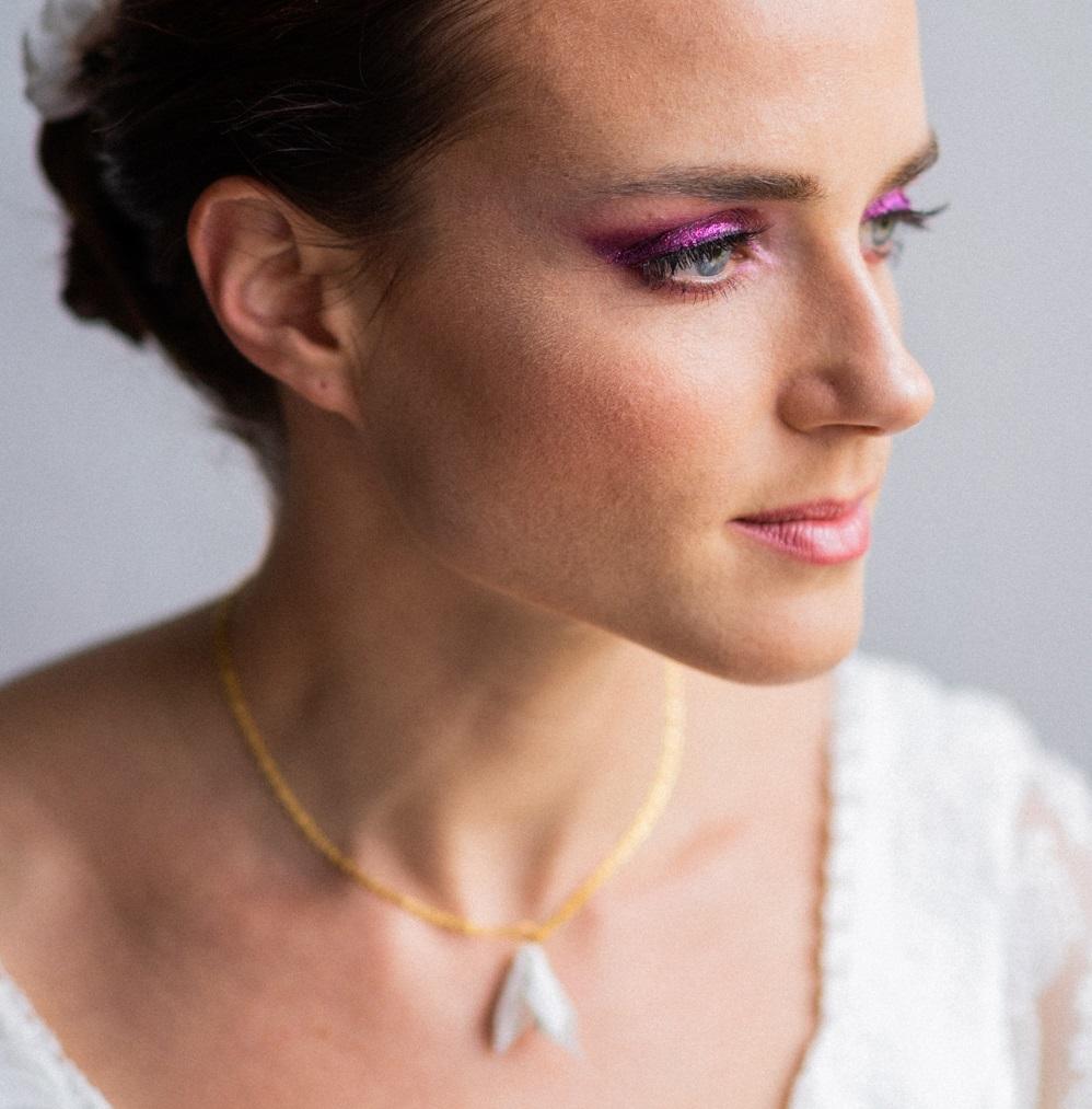 Collier ras de cou fleuri mariée Alice Marty - Couture florale Accessoires mariage Albi Toulouse