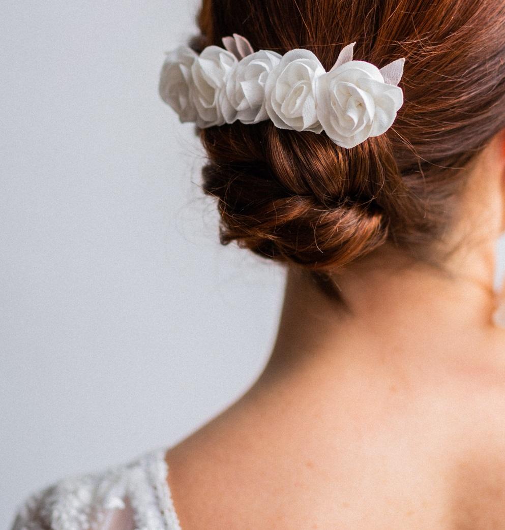 Barrette Margaux mariée Petites rose satin crêpe mousseline Alice Marty Collection mariage Albi Toulouse
