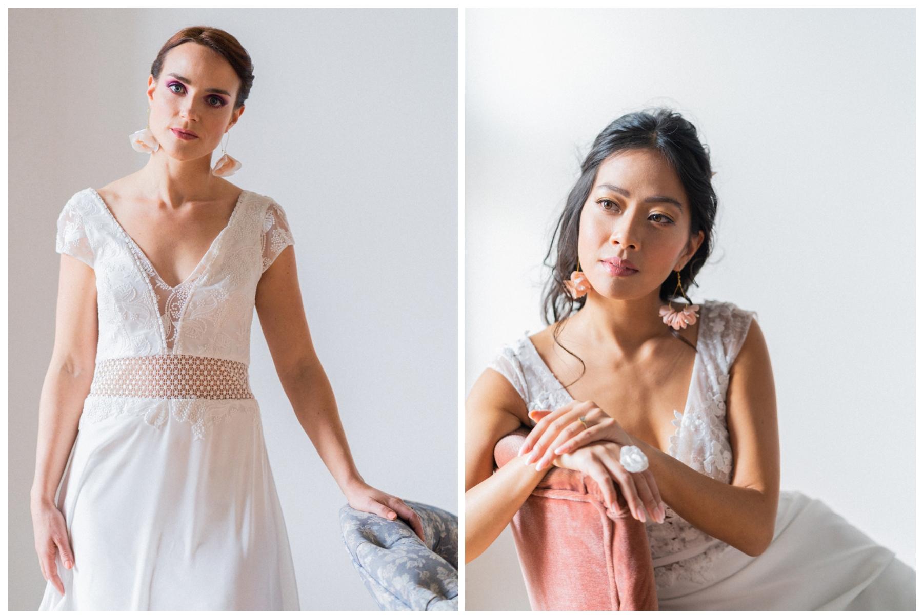 Boucles d'oreilles Eugénie et Adèle Collection 2021 GLITTER Alice Marty Couture florale