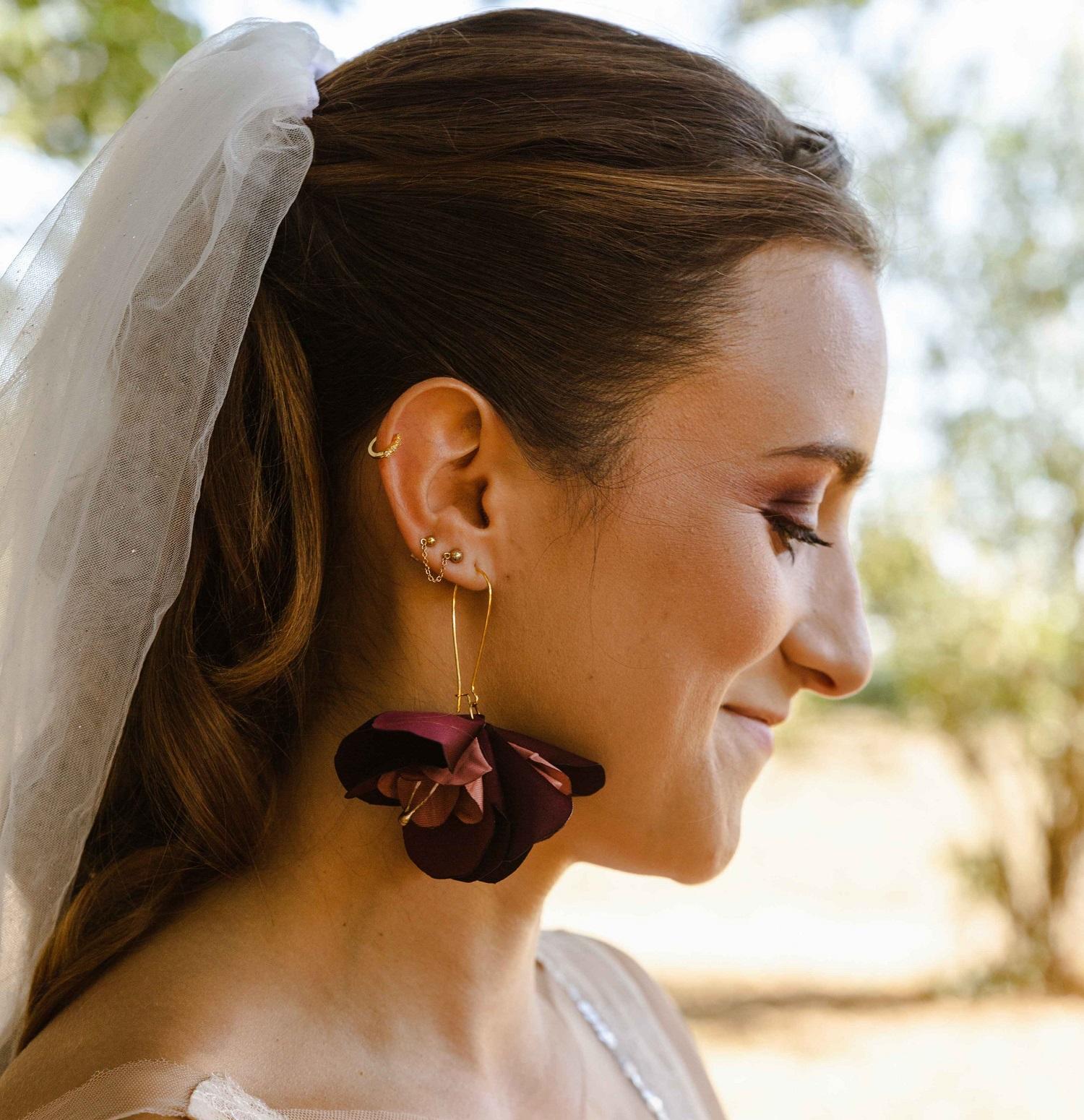 Boucles d'oreilles Eugénie Automne Lie de vin Alice MARTY Accessoires mariage Toulouse Albi