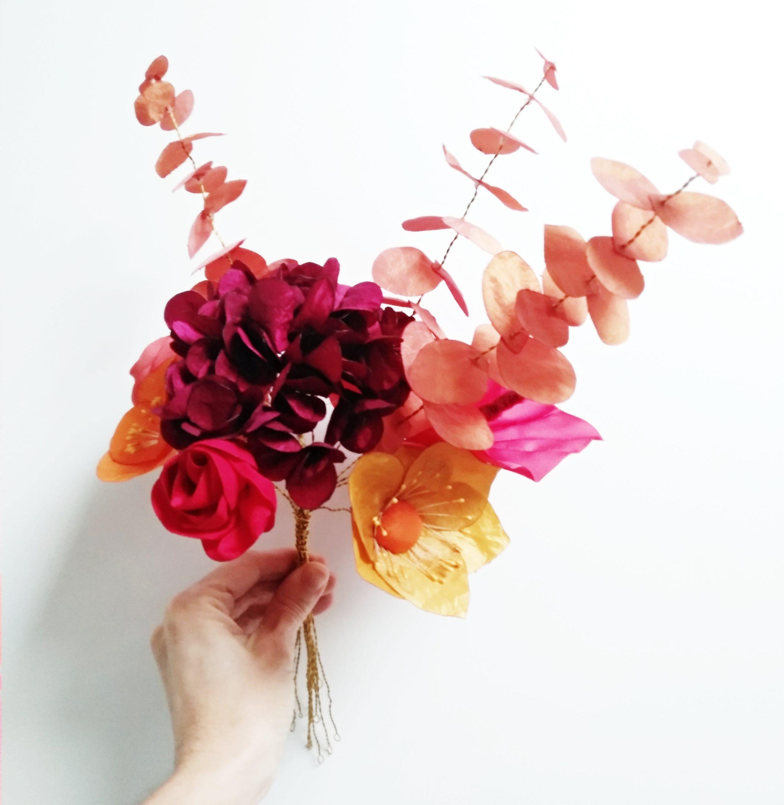 Bouquet sauvage couleurs chaudes Alice MARTY Accessoires mariage Toulouse Albi