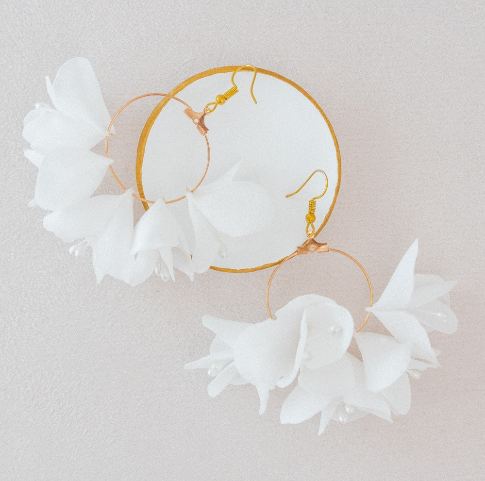 Boucles d'oreilles florales mariée Armance créoles fleuries Alice MARTY Couture florale Albi Toulouse