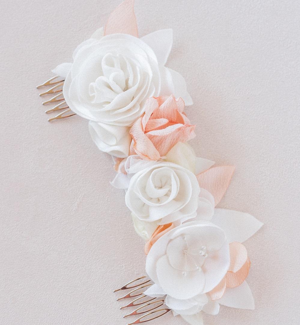 Double peigne fleuri Accessoire mariée Alice Marty Artisan d'art Collection mariage Albi Toulouse