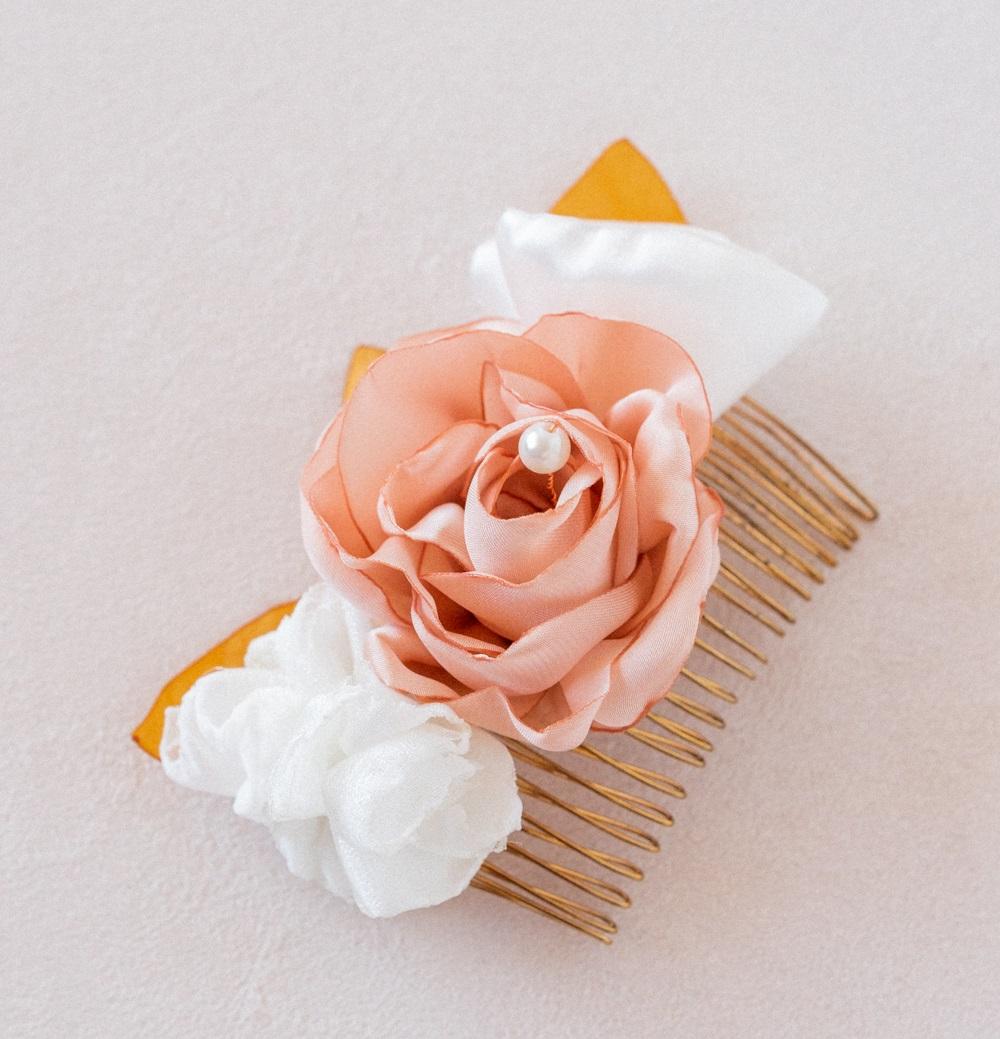 Peigne floral mariée Modèle Apolline Alice MARTY Accessoires mariage Toulouse Albi