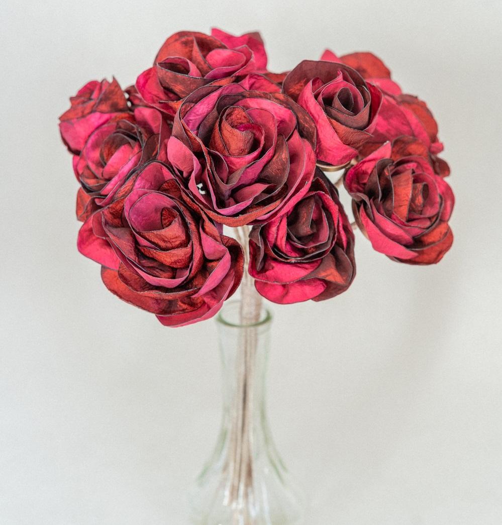 Bouquet de mariée Roses rouges en tissu Alice MARTY Couture florale Toulouse Albi