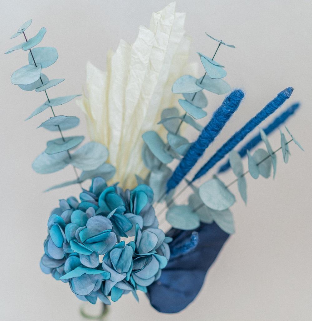 Hortensia tissu Bouquet de mariée déstructuré sauvage bleu Alice MARTY Accessoires mariage Toulouse Albi