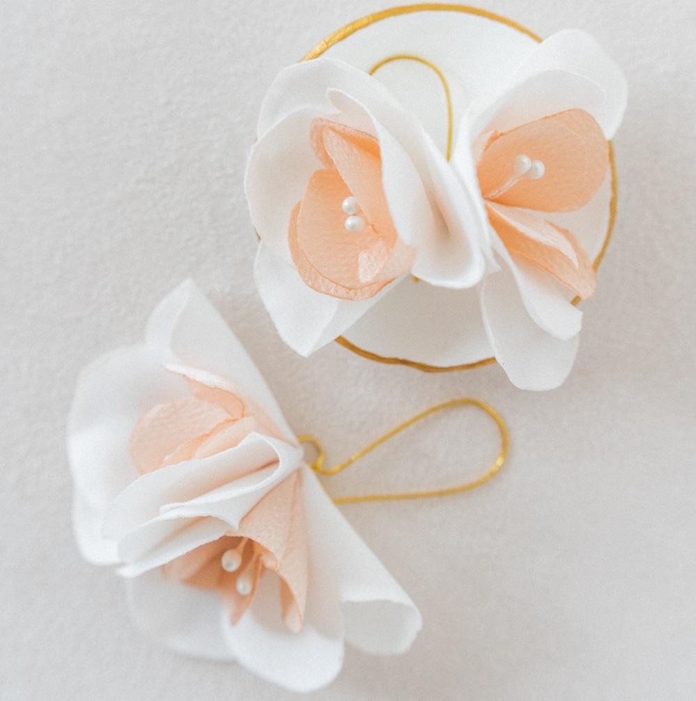 Boucles d'oreilles florales Eugénie Grande dormeuse Double fleur et pistils Accessoire collection mariage Alice Marty Albi Toulouse