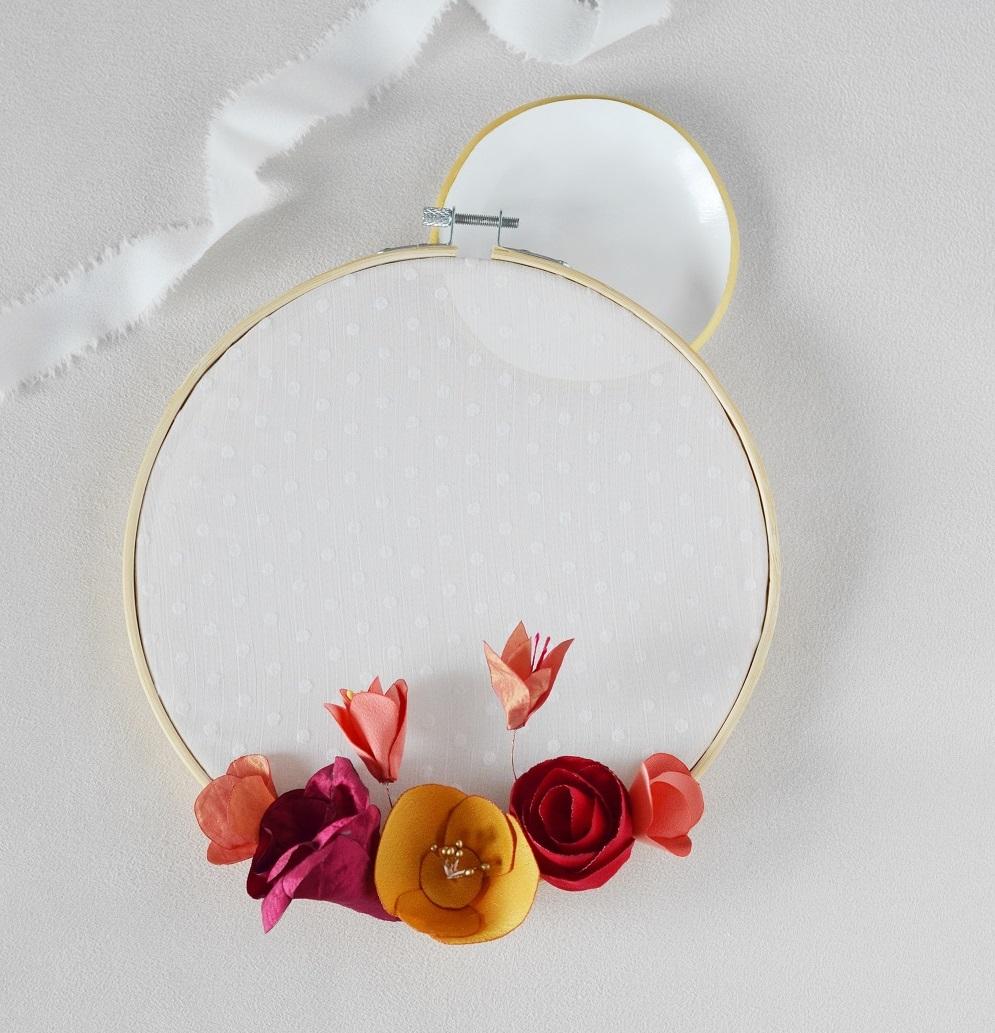 Cercle fleuri Tambour à broder Alice MARTY Couture florale Cadeau fête des mères