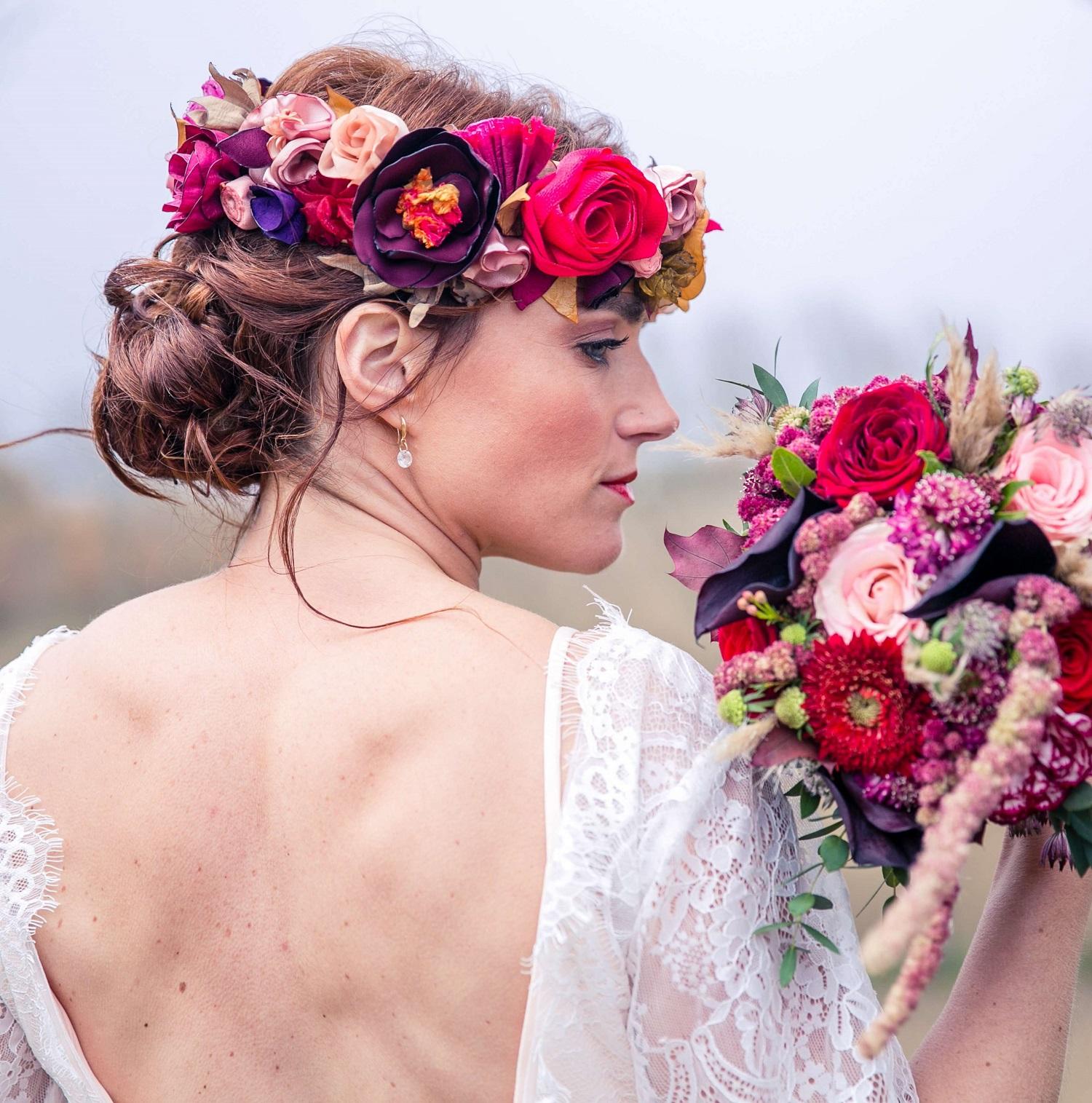 Couronne florale mariée modèle Elia Alice MARTY Couture florale Accessoires mariée marié cortège