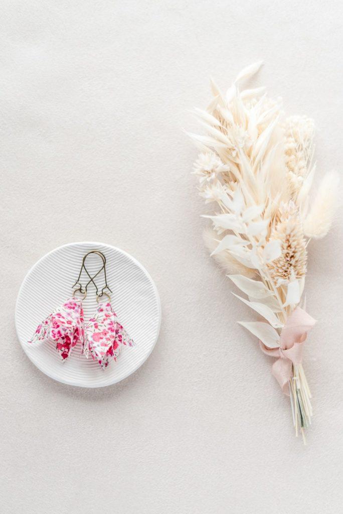 Boucles d'oreilles florales Amandine - Alice MARTY Couture florale Collection Liberty